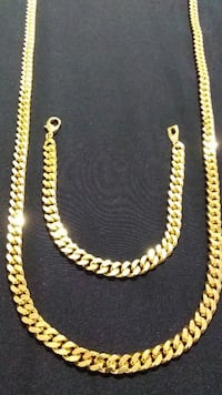 18K Gold PVD Dubai Cuban Chain Set