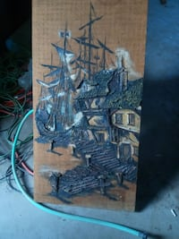 blue sailship near the house artwork Nuevo, 92567