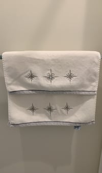Winter Dreams Set of 2 towels. White and silver towels.