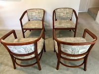 two brown wooden framed padded armchairs Washington, 20024