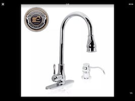 "18"" Chrome Pull Down Kitchen Sink Faucet with Soap Dispenser"