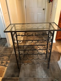 Black Metal Wine Bottle Cart