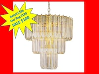Bel Air Lighting Stewart 9-Light Polished Brass Chandelier with Beveled Acrylic Crystal Shades NEW!! Plantation