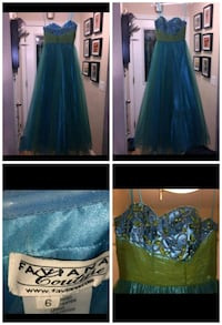 blue and green floral sleeveless prom dress London, N5Y 2P2