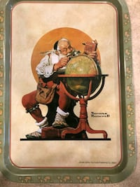 Norman Rockwell Sant is coming to town tray  Boise