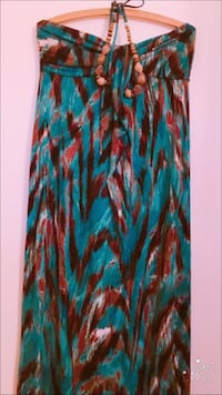 women's blue and brown strapless dress