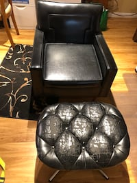 Black Leather Accent Chair with foot stool Guelph, N1E 0P5