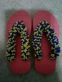 pair of red-blue-and-green beaded flip-flops Brampton, L6Z 0B4