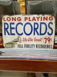 Long playing records faux vintage ad steel metal sign