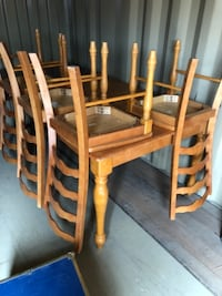 brown wooden table with four chairs DENVER