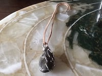 wire-wrapped stone/suede necklace Welland, L3C