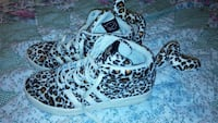 black-and-white Adidas leopard-print high-top sneakers