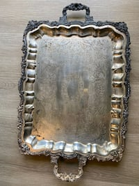 """Vintage SHERIDAN SILVERPLATE Footed Butler Serving Tray 15.75"""" x 25"""" Very Heavy & Ornate"""