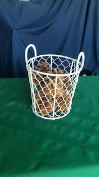 white metal basket