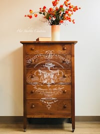 Tall solid wood chest