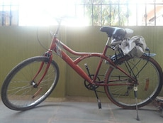 red hardtail commuters bike