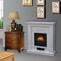 (New in box) Electric fireplace tv display stand firewood space heater white wood mantel 2062 mi
