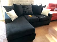 Smaller black velvet sectional L shape sofa couch Charlotte, 28205