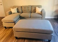 Brand New Light Grey Linen Sectional Sofa +Ottoman Silver Spring, 20910
