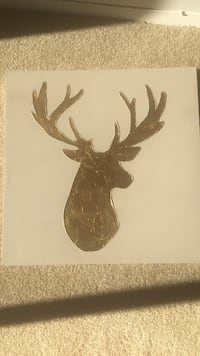 Grey and gold textured deer canvas painting. $25. 29.5in X 29.5in Falls Church, 22041
