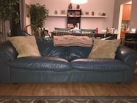 Green blue real leather couch must sell Asap! Mountlake Terrace, 98043