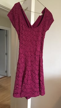 Burgundy lace dress. Size large from Garage