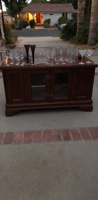 brown wooden framed glass cabinet Long Beach, 90815