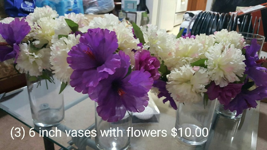 white and purple flower arrangements in glass vases & Used white and purple flower arrangements in glass vases for sale in ...