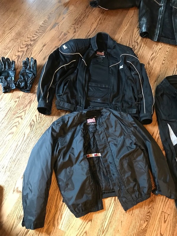 """Tour Master cool mesh motorcycle jacket with zip in and zip out liners, """"armor"""" at elbow and shoulder. Excellent condition never fell off while wearing it. Keep warm and safe while riding. Also comes with pants size 34-36"""