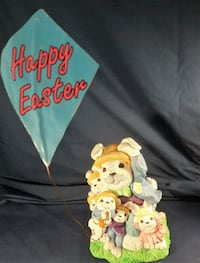 """Family of Bunnies w Flying Kite """"Happy Easter"""" 1995 Figurine Accents Unlimited Parkville"""
