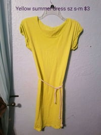 women's yellow scoop-neck dress Abilene