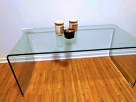 Coffee table /TV stand glass table (sea glass color)