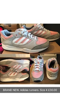 pair of pink-and-white Adidas sneakers Manchester, M18 7QN