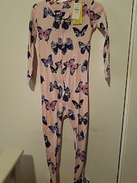 butterflies print pink and blue onesie size3years
