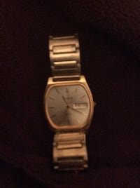 square silver analog watch with link bracelet ELCENTRO