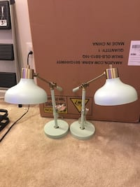 Like New Set of 2 Crosby Schoolhouse Desk Lamp in Mint and Brass / Gold Color