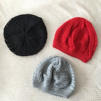 Knitted Beret French Styled Beanie Hats- Black, Grey & Red One Size  Vaughan