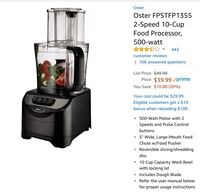 Almost new Oster food processor - used only once  Jersey City, 07310