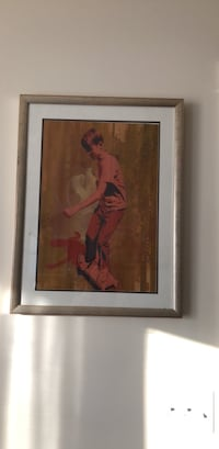 woman in red dress painting with brown wooden frame New Paltz, 12561