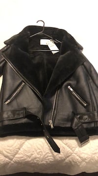 Black leather zip-up jacket Toronto, M5A