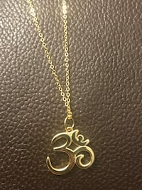 OM necklace real 925 sterling silver with 18k gold plated, adjustable chain 45 cm - 50cm  Mississauga, L5J 2B9
