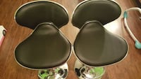 two black leather padded stainless steel base bar stools Triangle, 22172