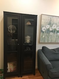 Large Black Cabinets with Glass Doors New York, 10065