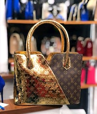 Borsa Monogram Canvas Louis Vuitton in oro e marrone Monteviale, 36050