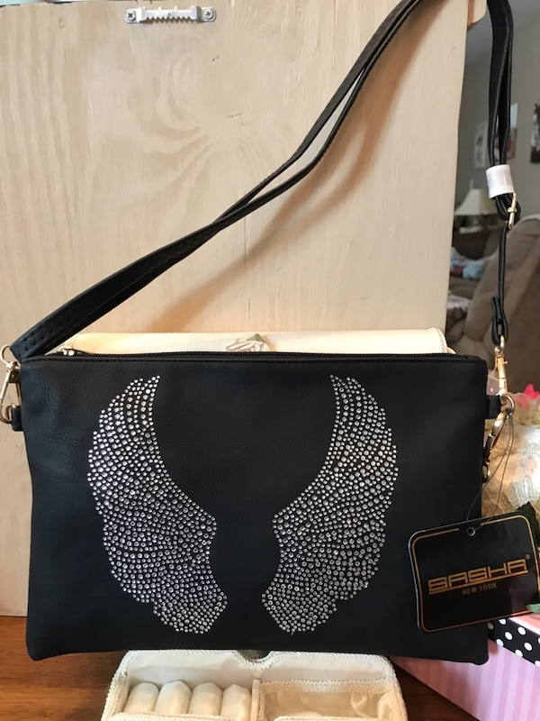 Beautiful black Purse with Crystal Angel Wings