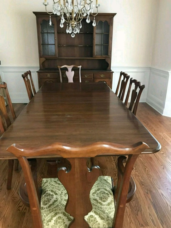 Rectangular dining room table and hutch