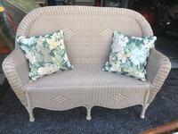 Creme Resin Wicker Love Seat with Pillows MIAMI