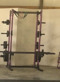 Commercial Squat Rack with bar & plate weights