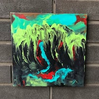 green, black, and yellow abstract painting Oakville, L6L 0P3