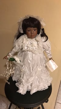 "African American bride porcelain doll 16"" tall Ronkonkoma, 11779"